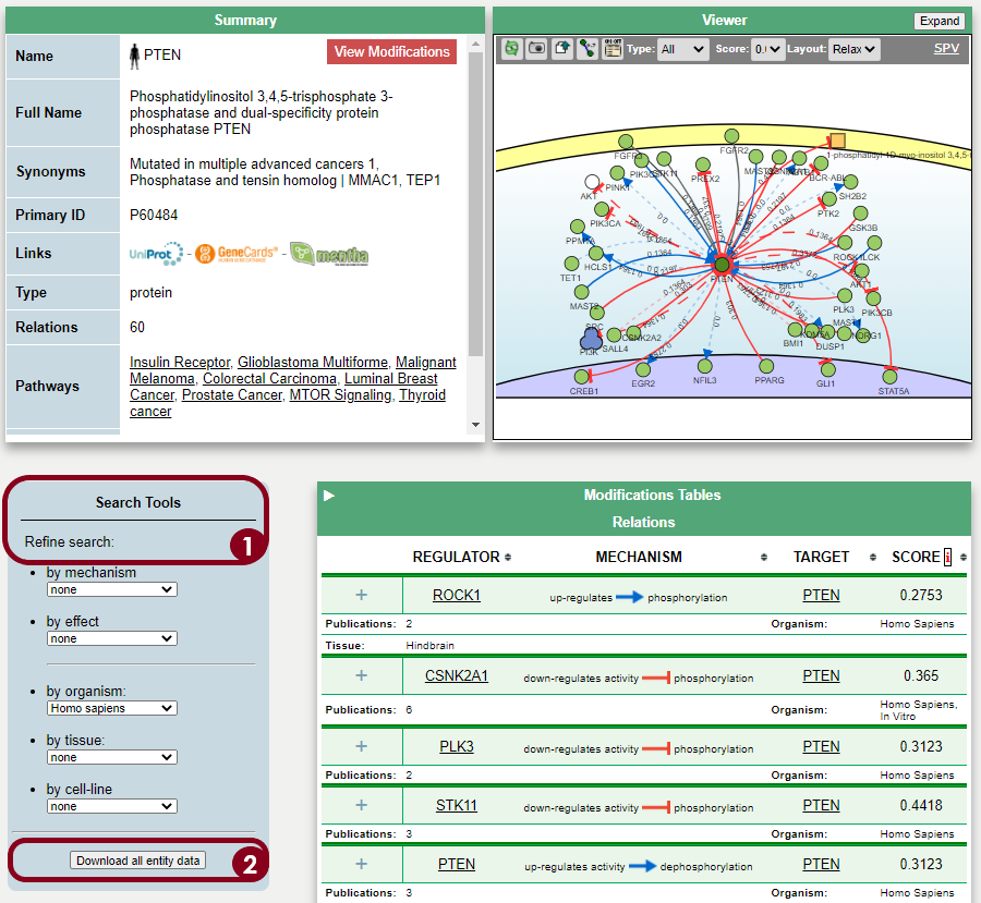 Example of how the PTEN query results look like in SIGNOR. The query can be refined with the search tools (Step 1) and the interactions can be downloaded (Step 2) and imported to Cytoscape